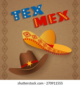 conceptual poster template representing  mix of texas and mexican culture, can be used also as a template for restaurants with tex mex cuisine