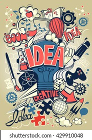 Conceptual representation of an idea or inspiration poster. Vector illustration