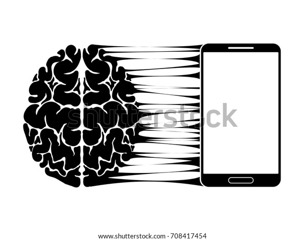 A conceptual sign or logo showing a person s dependence on a smartphone, gadget or the Internet. Strong communication of the brain and new technologies. Black and white.