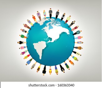 conceptual social network with many people icon gather around globe vector design