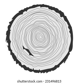 Conceptual space background with tree-rings with saw cut tree trunk. Vector graphics EPS10.