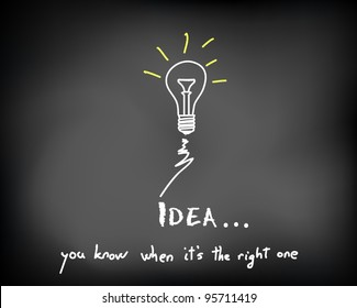 Conceptual sparking idea on black chalkboard with incandescent light bulbs - vector illustration