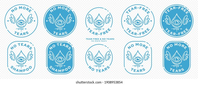 Conceptual stamps for product packaging. Marking - no tears. Stamp with the symbol of the free. A drop with an eye and wings - a symbol of one free from tears. Vector grouped elements.