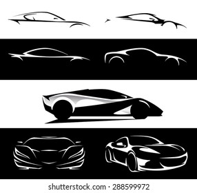 Conceptual supercar silhouette vector car illustration design collection