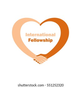Conceptual symbol of Interracial Friendship or International Fellowship in the form of heart, twisted to a handshake: the white man's hand shakes the hand of color man. Warm colors. White background.