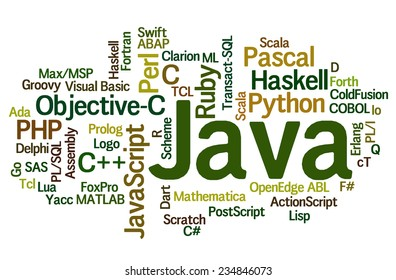 Conceptual tag cloud containing names of programming languages, Java emphasized, related to web and software development and engineering, programing, coding, computing and software applications.