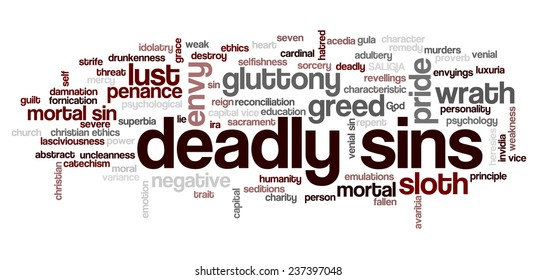 Conceptual tag cloud containing words related to seven deadly sins: pride, sloth, wrath, envy, lust, gluttony and greed