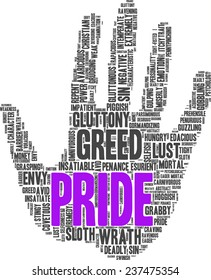 Conceptual tag cloud containing words related to seven deadly sins: pride, sloth, wrath, envy, lust, gluttony and greed in shape of a hand