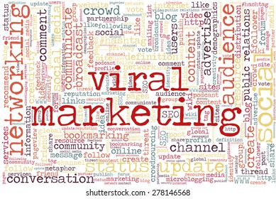 """Conceptual tag cloud containing words related to social media, marketing, blogs, social networks and Internet. Words """"viral marketing"""" emphasized."""