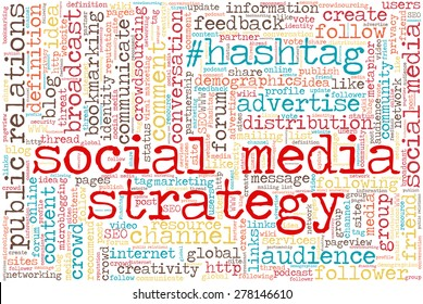 "Conceptual tag cloud containing words related to social media, marketing, blogs, social networks and Internet. Words ""social media strategy"" emphasized."