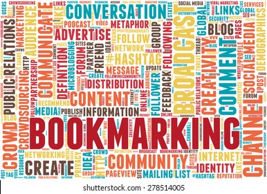 "Conceptual tag cloud containing words related to social media, marketing, blogs, social networks and Internet. Word ""bookmarking"" emphasized."