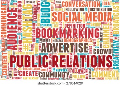 "Conceptual tag cloud containing words related to social media, marketing, blogs, social networks and Internet. Words ""Public relations"" emphasized."