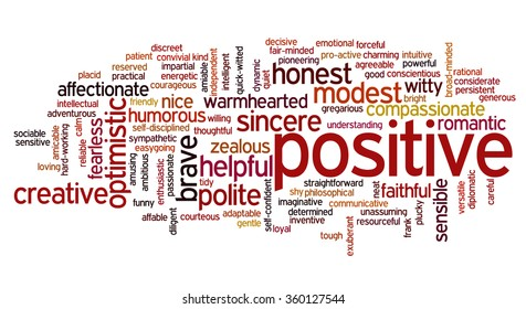 Conceptual tag cloud containing words related to positive personality features such as friendly, determined, discreet, funny, gentle, helpful, honest and intelligent.