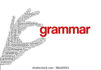 "Conceptual tag cloud containing words related to spell checking, typos, errors in written text and correction software; in shape of hand holding word ""grammar"""
