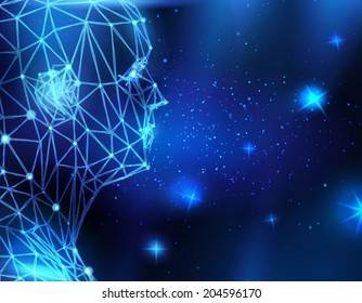 Conceptual technological background with human head