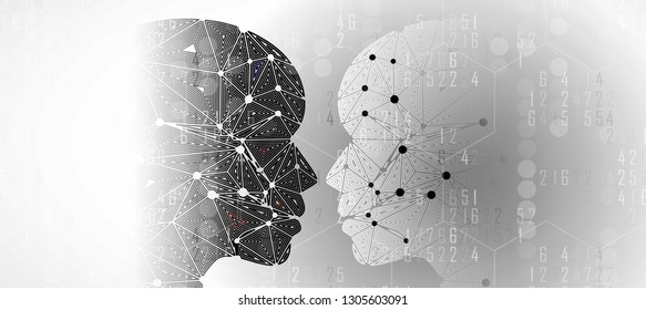 Conceptual technology illustration of artificial intelligence. Abstract futuristic background