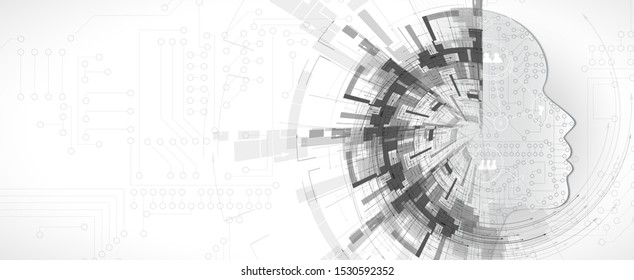 Conceptual technology illustration of artificial intelligence. Abstract vector futuristic background