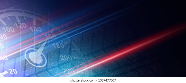 Conceptual technology illustration of racing speed. Abstract futuristic sport background with shiny lights.