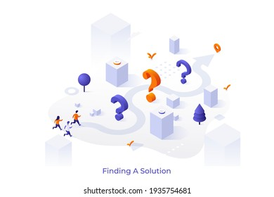 Conceptual template with interrogation points and people running along arrow route towards location mark. Scene for finding solution to problem or answer to question. Isometric vector illustration.
