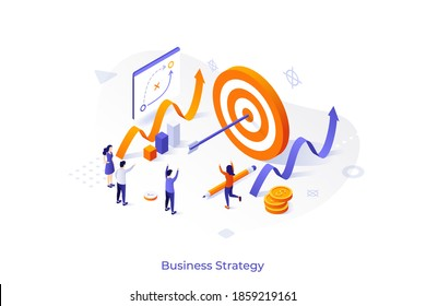 Conceptual template with joyful people, shooting target with arrow in center. Scene for successful business strategy, goal achievement, success celebration. Modern isometric vector illustration.