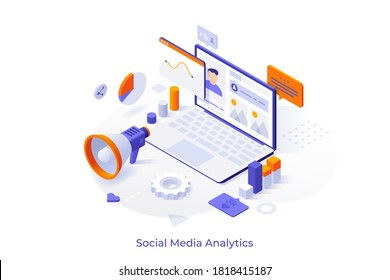 Conceptual template with laptop computer, charts, internet indicators and megaphone. Online tool or service for social media analytics and SMM. Isometric vector illustration for website.