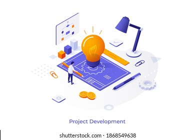 Conceptual template with man with pencil drawing blueprint, glowing lightbulb, diagrams, charts. Scene for innovative startup project development. Modern isometric vector illustration for website.