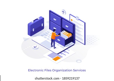 Conceptual template with man standing on laptop computer and opening drawer of storage cabinet full of documents. Scene for electronic file organization service. Isometric vector illustration.