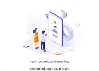 Conceptual template with man and woman standing in front giant smartphone. Face ID technology, facial recognition system, biometric authentication. Isometric vector illustration for website, banner.