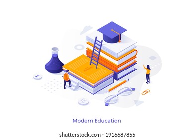 Conceptual template with student ascending pile of books with graduation cap on top. Scene for modern education, studying at university, obtaining knowledge. Isometric vector illustration.
