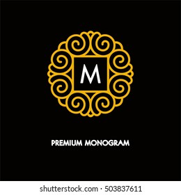 Conceptual template vector round logo design and monogram concept in trendy linear style, floral badge, emblem for fashion, beauty and jewelry industry