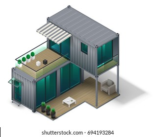 Conceptual two storey house made of cargo container containers. Isometrics in vector graphics.