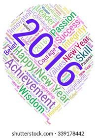 Conceptual vector of cloud containing words related to leadership, business, innovation, success for year 2016.
