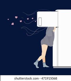 Conceptual Vector Flat Illustration of Girl and Opened Refrigerator Depicting Hunger, which Comes at Night