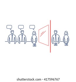 Conceptual vector focus group icon of marketing reserach method with group of people discussing in meeting room and second behind the mirror | business illustration infographic red and blue on white