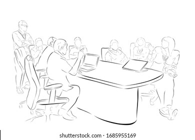 Conceptual Vector, Hand Draw Sketch, 8 People in The Meeting Situation