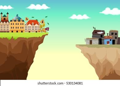 A Conceptual Vector Illustration of Gap Between Rich and Poor