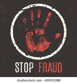 Conceptual vector illustration. Global problems of humanity. Stop fraud.