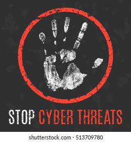 Conceptual vector illustration. Global problems of humanity. Stop cyber threats.
