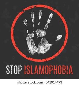 Conceptual vector illustration. Global problems of humanity. Stop islamophobia.