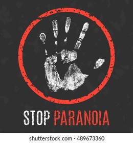 Conceptual vector illustration. Human diseases. Stop paranoia.