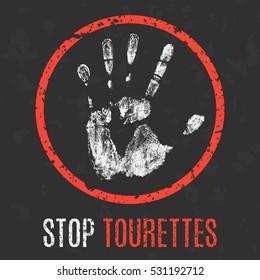 Conceptual vector illustration. Human sickness. Stop Tourette Tourettes.