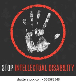 Conceptual vector illustration. Human sickness. Stop intellectual disability.