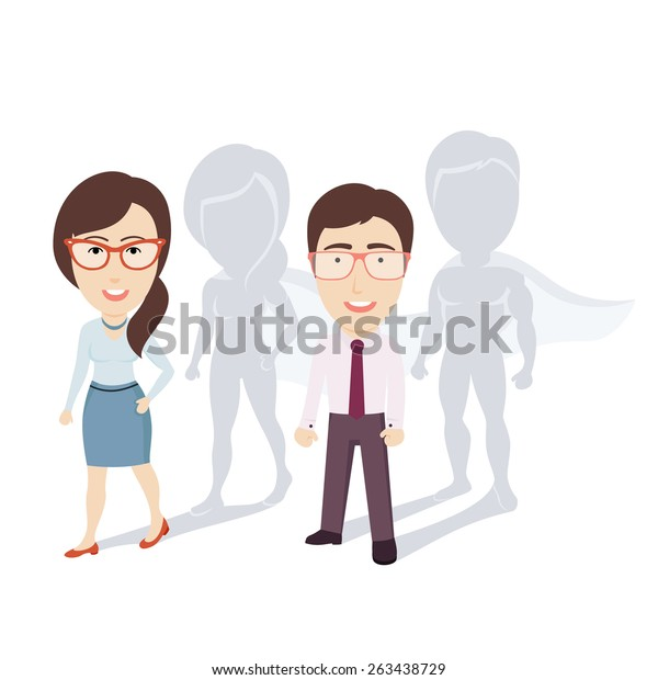 Conceptual Vector Illustration of Ordinary Businessman and Business Woman(Office Workers) with Superhero Shadows. Flat Cartoon Design.