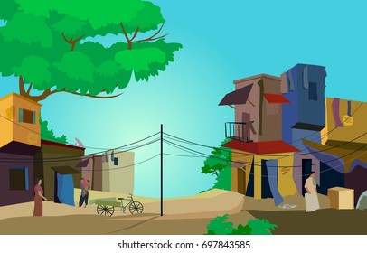 A Conceptual Vector Illustration of Slum area