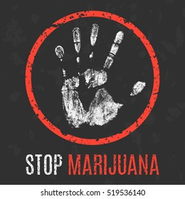 Conceptual vector illustration. Social problems of humanity. Stop marijuana.