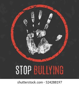 Conceptual vector illustration. Social problems of humanity. Stop bullying sign.