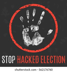 Conceptual vector illustration. Social problems. Stop hacked election.
