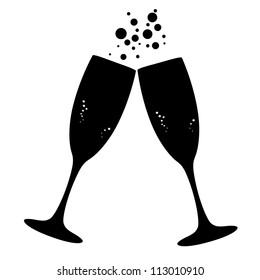 Conceptual vector illustration of sparkling champagne glasses. Proposed colors. Vector File.