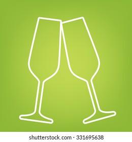 Conceptual vector illustration of sparkling champagne glasses. line icon