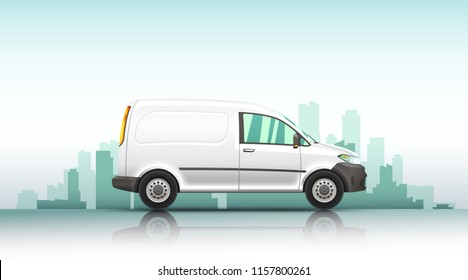 Conceptual vector illustration of van fast delivery service  on a urban background. - Shutterstock ID 1157800261